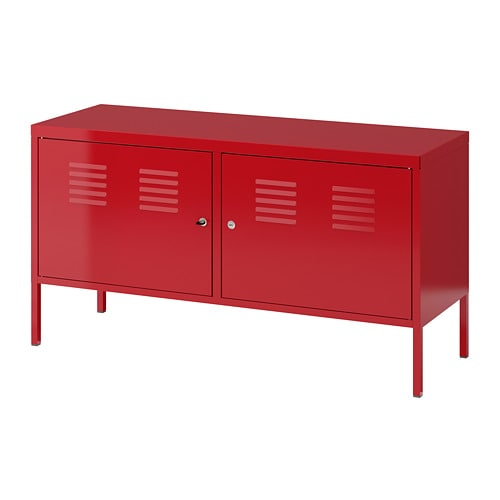 meuble metal rouge